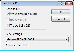 Sending waypoints and tracks to a Garmin GPSMAP 60CSx with ExpertGPS map software