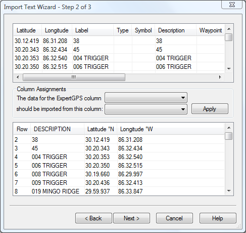 Importing degrees and minutes of lat/long
