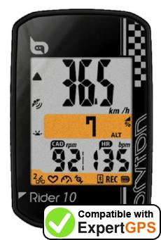 Download your Bryton Rider 10 waypoints and tracklogs and create maps with ExpertGPS