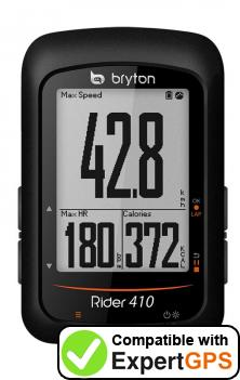 Download your Bryton Rider 410 waypoints and tracklogs and create maps with ExpertGPS