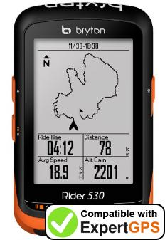 Download your Bryton Rider 530 waypoints and tracklogs and create maps with ExpertGPS