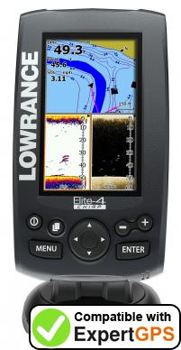 Download your Lowrance Elite-4 CHIRP waypoints and tracklogs and create maps with ExpertGPS