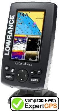Download your Lowrance Elite-4 HDI Gold waypoints and tracklogs and create maps with ExpertGPS