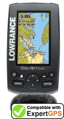 Download your Lowrance Elite-4m HD Gold waypoints and tracklogs and create maps with ExpertGPS