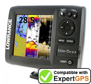Download your Lowrance Elite-5 HDI waypoints and tracklogs and create maps with ExpertGPS