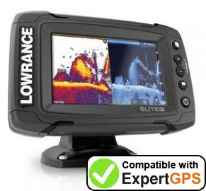 Download your Lowrance Elite-5 Ti waypoints and tracklogs and create maps with ExpertGPS