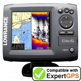Download your Lowrance Elite-5 waypoints and tracklogs and create maps with ExpertGPS