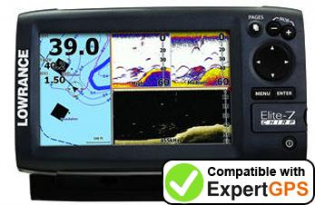 Download your Lowrance Elite-7 CHIRP waypoints and tracklogs and create maps with ExpertGPS
