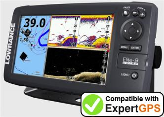 Download your Lowrance Elite-9 CHIRP waypoints and tracklogs and create maps with ExpertGPS