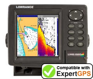 Download your Lowrance LMS-525C DF waypoints and tracklogs and create maps with ExpertGPS