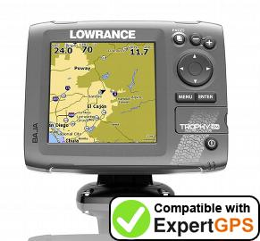 Download your Lowrance Trophy-5m Baja waypoints and tracklogs and create maps with ExpertGPS