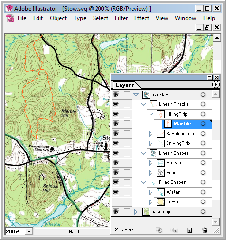 GPS tracklogs and GIS data (roads and streams) over USGS topo map converted to SVG and displayed in Adobe Illustrator