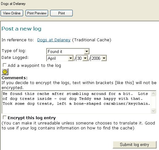 Post a New Log Web form