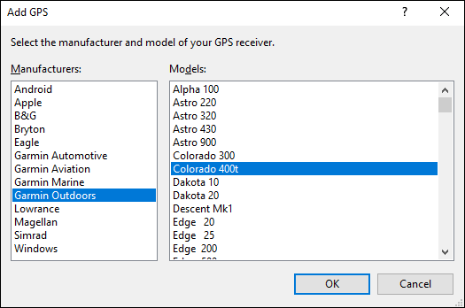 Add GPS Dialog