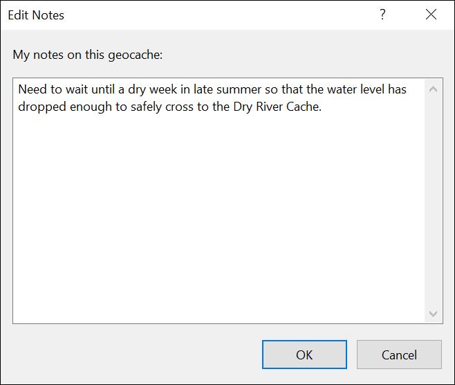 Edit Geocache Notes