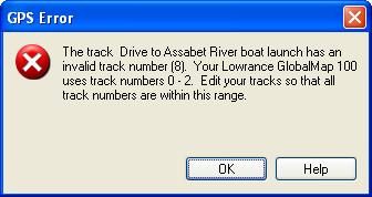 GPS Error: Invalid track number