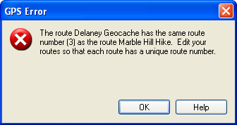 GPS Error: Route numbers not unique