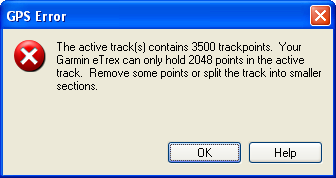 GPS Error: Too many trackpoints in active track
