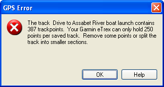 GPS Error: Too many trackpoints in saved track