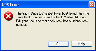 GPS Error: Track numbers not unique