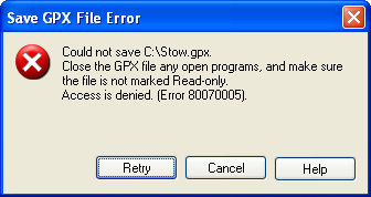 Save GPX File Error