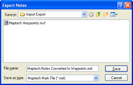 Export Notes to Maptech dialog