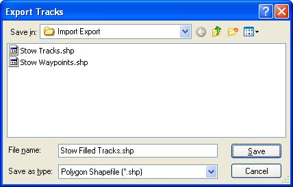 Export Tracks to Polygon Shapefile dialog