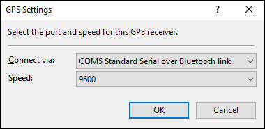 GPS Settings Dialog
