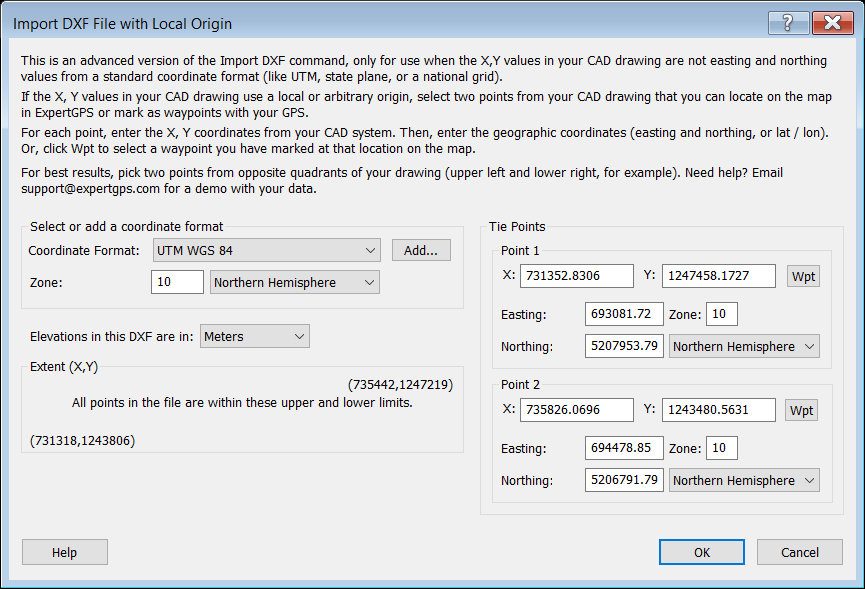 Import DXF File with Local Origin dialog