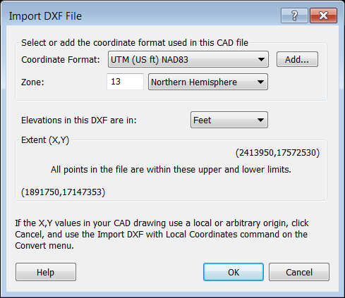 Import DXF File dialog