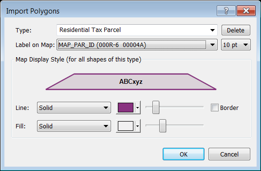Import Polygons dialog