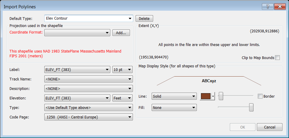 Import Polylines dialog