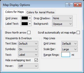 Map Display Options window