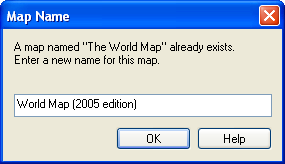 Map Name Dialog Error: Map Name Not Unique