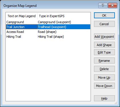 Organize Map Legend dialog