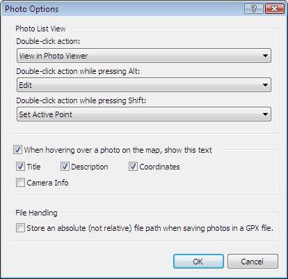 Photo Options dialog