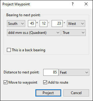 Project Waypoint window