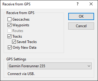 Receive from GPS dialog