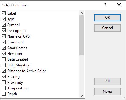 Select Columns Dialog