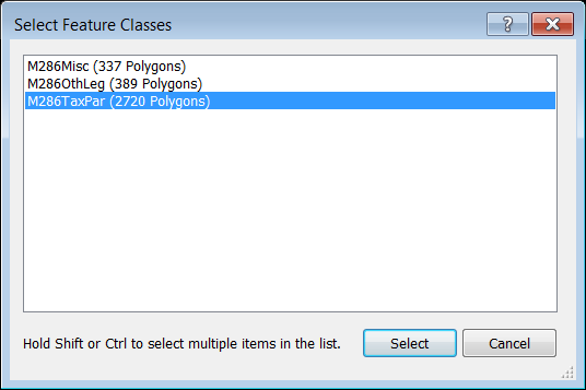 Select Feature Classes dialog