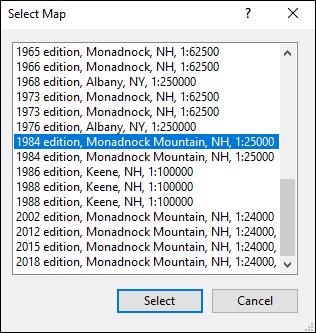 Select Map dialog
