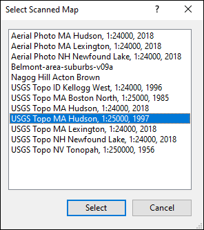 Select Scanned Map dialog