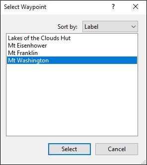 Select Waypoint dialog