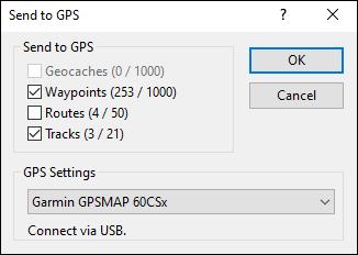 Send to GPS dialog