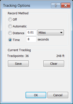 Tracking Options dialog