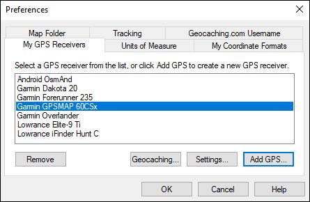 My GPS Receivers dialog