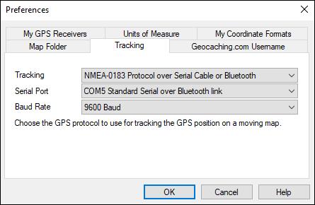 Tracking dialog