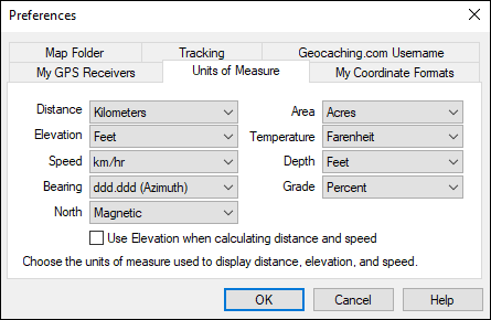 Units of Measure dialog