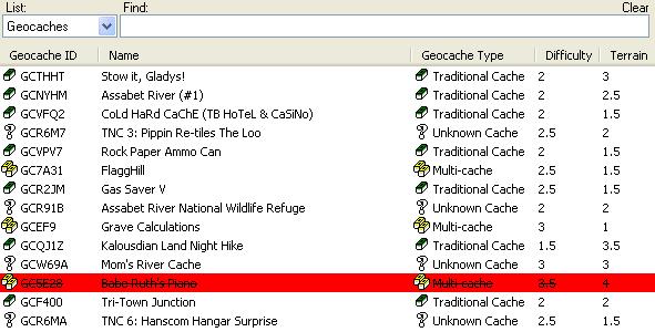 Geocache List