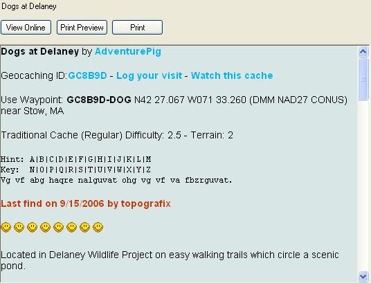 Geocache Web Page